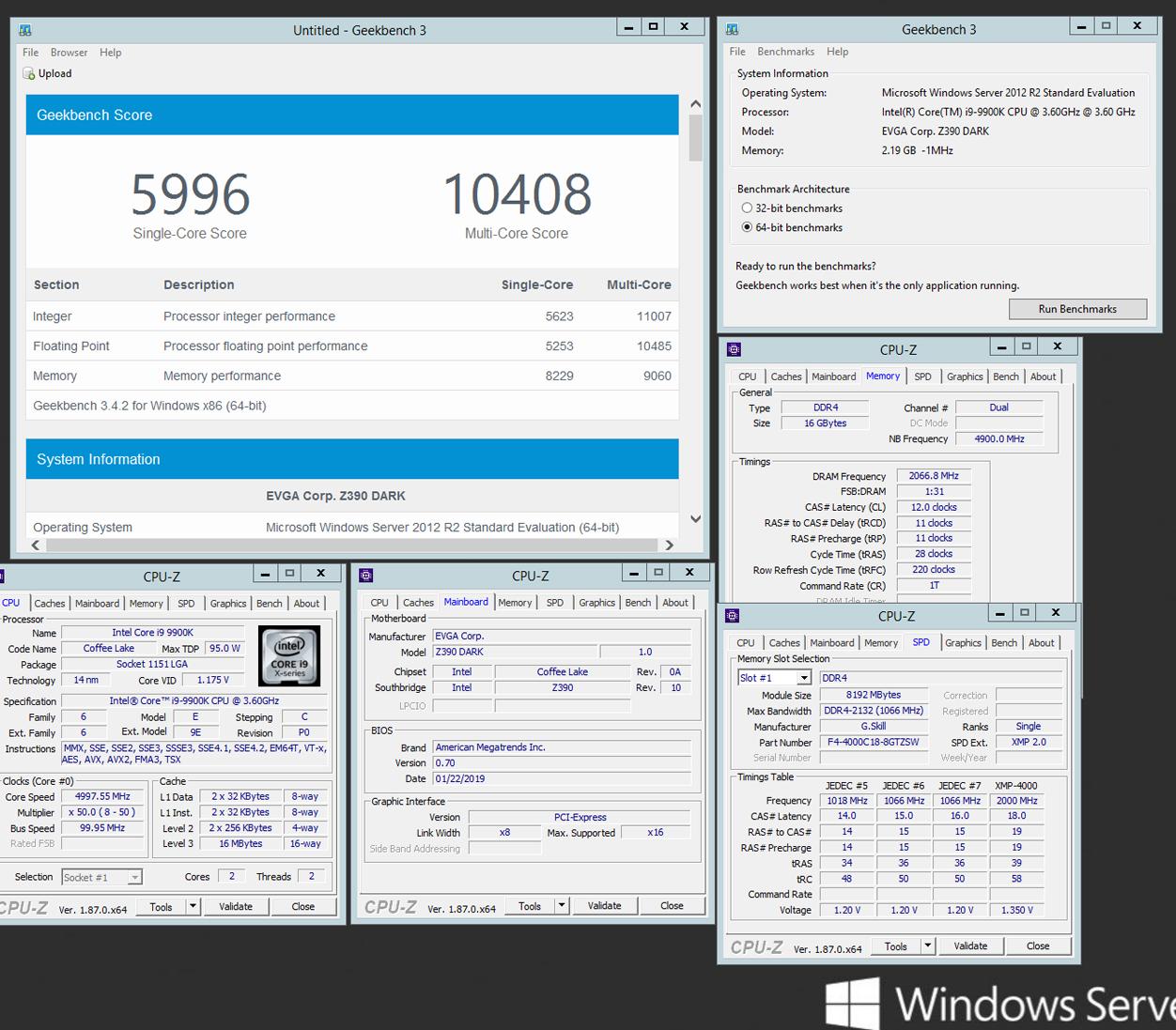 EVGA Z390 DARK and B-Die based low latency memory overclocking